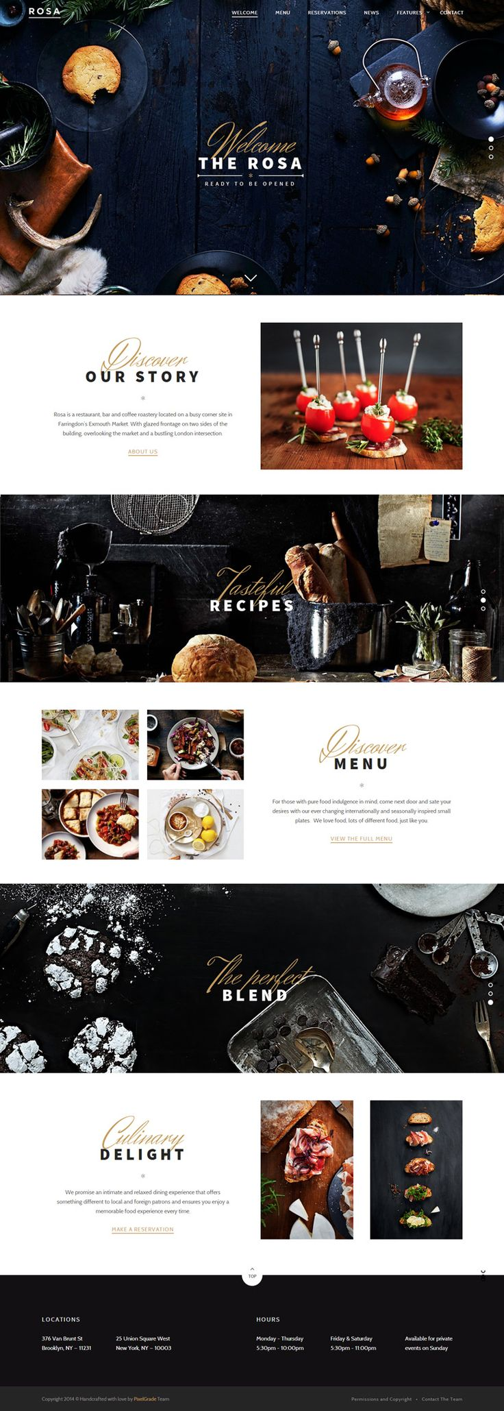 Restaurant WordPress Theme Responsive with Parallax Scrolling, one page layout, open table reservation system
