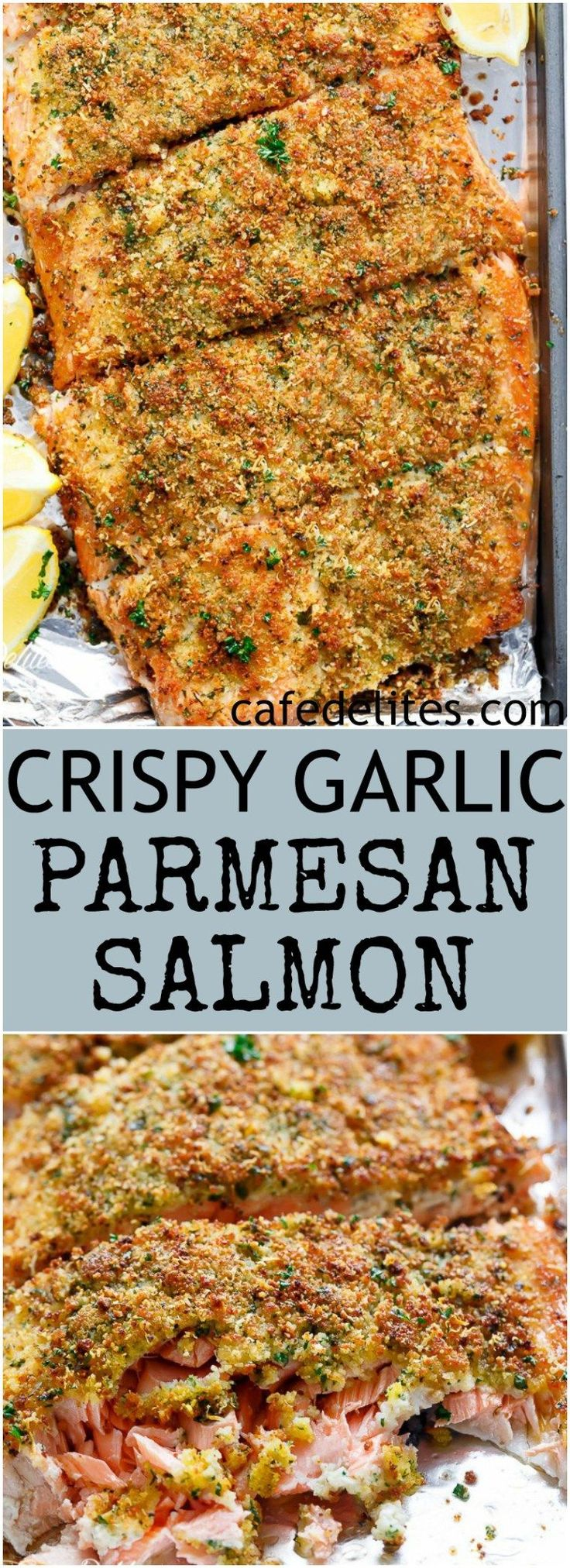 Crispy Garlic Parmesan Salmon is ready and 0n your table in less than 15 minutes, with a 5-ingredient crispy top! Restaurant quality salmon right at home! | http://cafedelites.com #seafoodrecipes