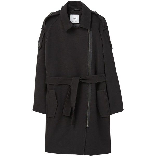Mango Straight Pockets Coat, Black (£90) ❤ liked on Polyvore featuring outerwear, coats, pocket coat, mango coat and long sleeve coat
