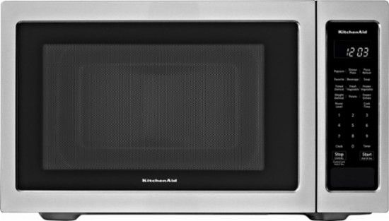 Kitchenaid 1 6 Cu Ft Microwave With Sensor Cooking Stainless Steel Kmcs1016gss Best Buy Kitchen Aid Countertop Microwave Countertop Microwave Oven