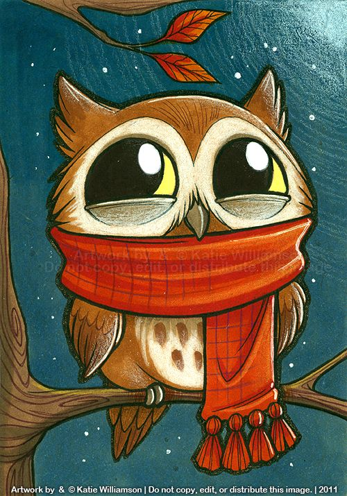 'Tiny Owl is PLEASED with Scarf' by Katie Williamson