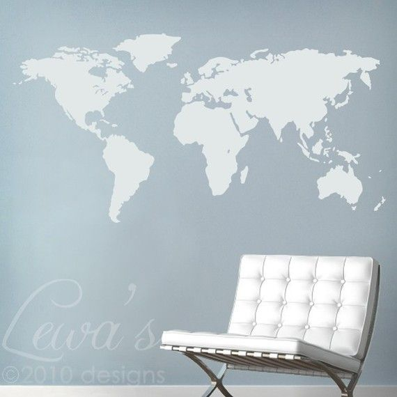 Michaelu0027s room! World Map Large Vinyl Wall Decal by lewasdesigns on Etsy,  $34.00