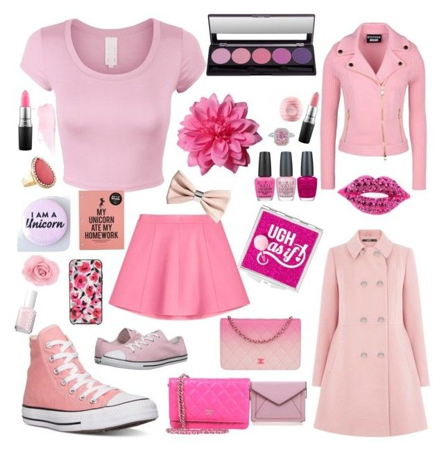 """Pink"" by i-am-a-cheerleader on Polyvore featuring Boutique Moschino, Converse, Oasis, Eos, OPI, MAC Cosmetics, Avenue, Rebecca Minkoff, Essie and Kate Spade"
