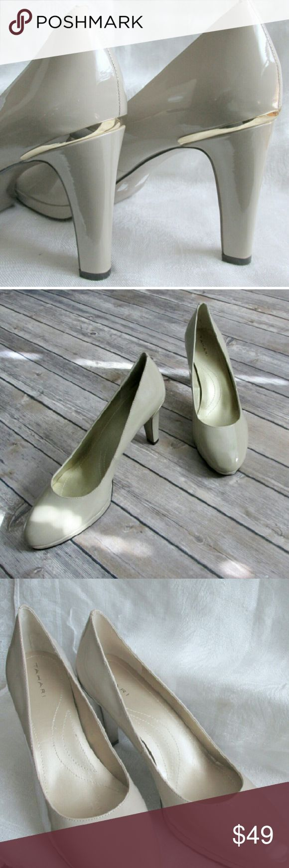 """""""Gold Cap""""  pumps Beige pumps with a gold accent on the heel. Pump has 1"""" platform with a solid heel. Heel measures 4"""" but will feel like 3"""" due to the platform.  A great pump for the office or special occasion.  DD 22.11.16 Tahari Shoes Heels"""