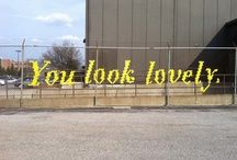 """Hekhaken. Cross stitch streetart. Fence yarn bombing. Our frase could be: """"You are awesome."""""""
