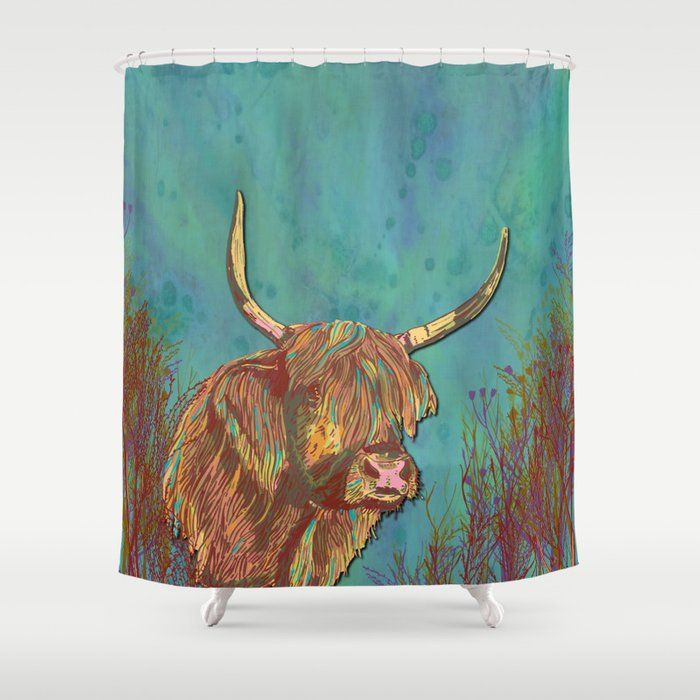 Buy Highland Cow Shower Curtain By Lottibrown Worldwide Shipping