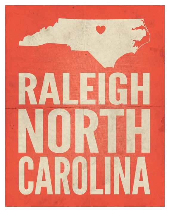 Raleigh North Carolina Love Print by AmyRogstad on Etsy