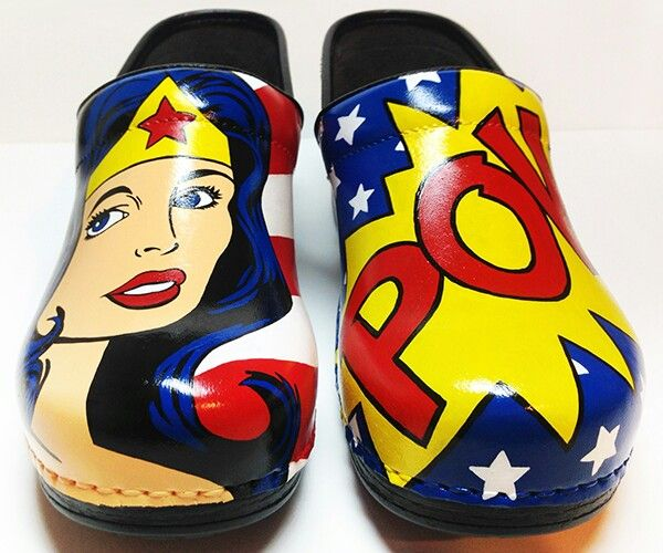 "Dansko hand painted ""Wonder Woman"" nursing clogs. How appropriate!"