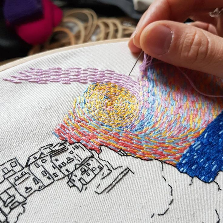 straight stitch lover (tag your stitching buddy!) . . . #lekadre #stitches #wip #embroidery #workinprogress #handembroidery #handmadeembroidery #needlepainting #needlework #broderie #bordado #detailing #colors #sky #straightstitch #tutorial #artistsoninstagram #artistcouple #hoop #craftsposure