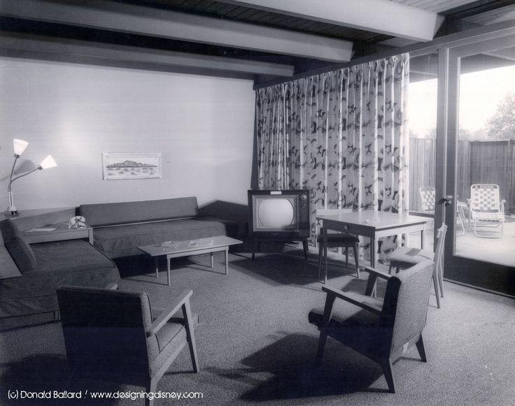 Disneyland Hotel guest room. 1950's.