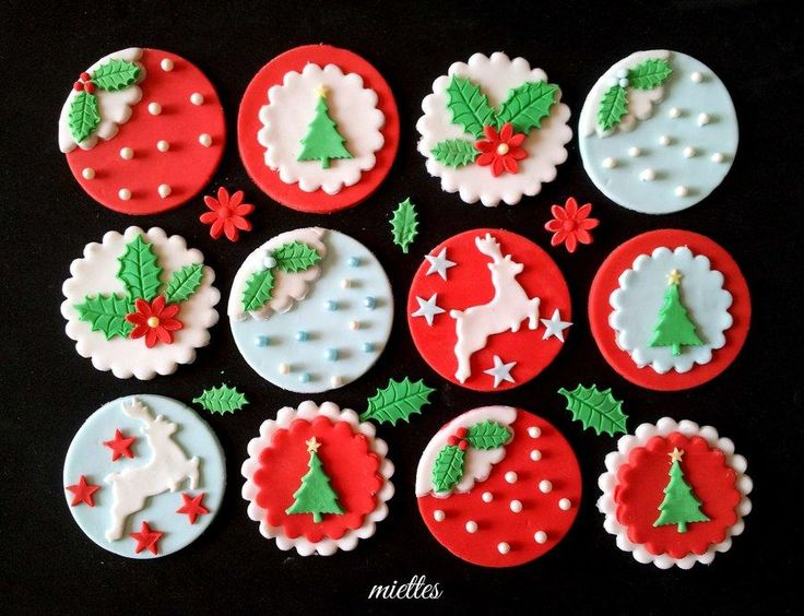Christmas toppers in traditional and-traditional colors. One of the designs inspired by Angela Morrison! Thank you for looking !!