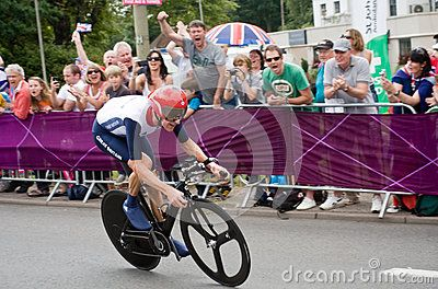 British Cyclist and Tour de France winner Bradley Wiggins on the road in Surrey en route to win the London 2012 Olympic Cycling Time Trial