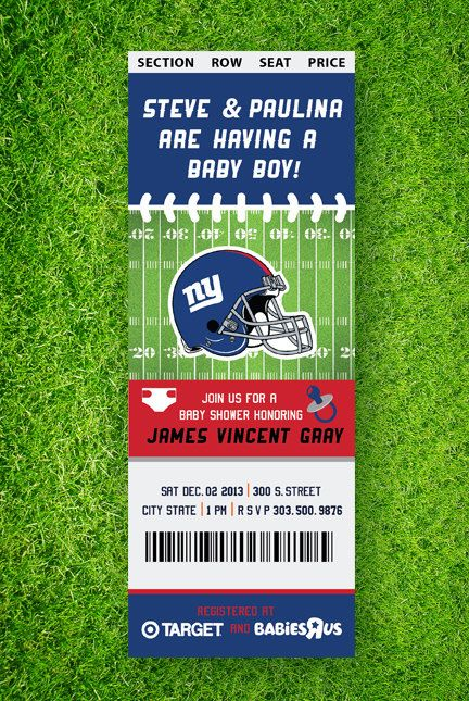 Printable Football Baby Shower Invitation by TheGoldenSerif, baby shower, invite, football, nfl, college football invite, new york giants, denver broncos