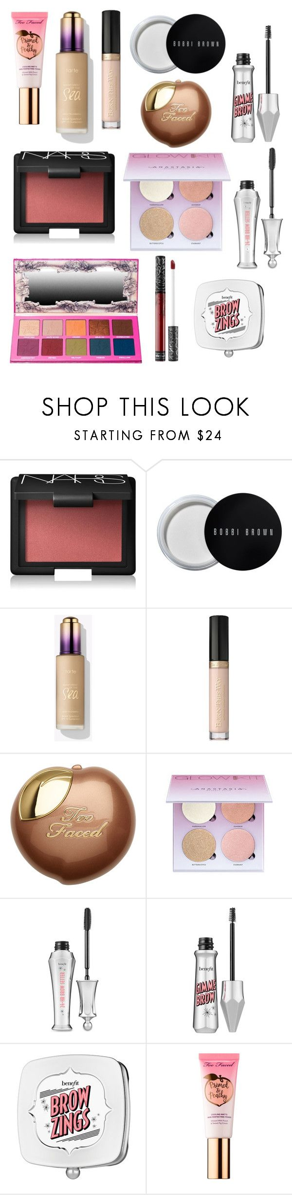 """""""Makeup for Tuesday"""" by april-baby123 ❤ liked on Polyvore featuring beauty, NARS Cosmetics, Bobbi Brown Cosmetics, Too Faced Cosmetics, Anastasia Beverly Hills, Benefit, Sephora Collection, Jeffree Star and Kat Von D"""