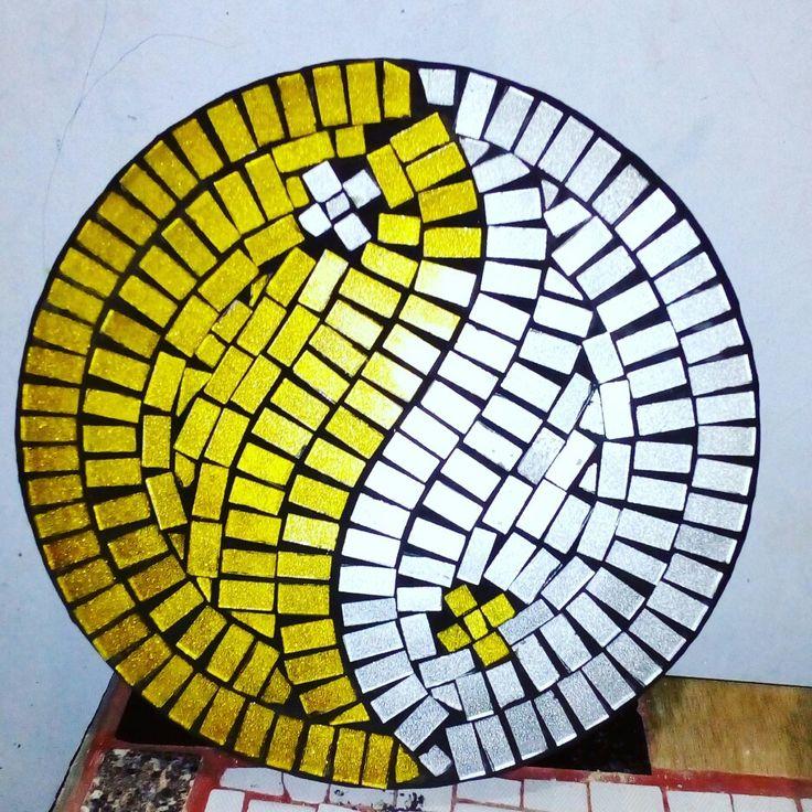 yin and yang glass nosaic stepping stone