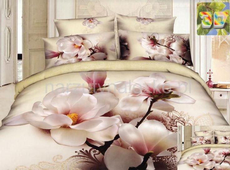 Biała orchidea pościel bawełniana w kolorze kremowym