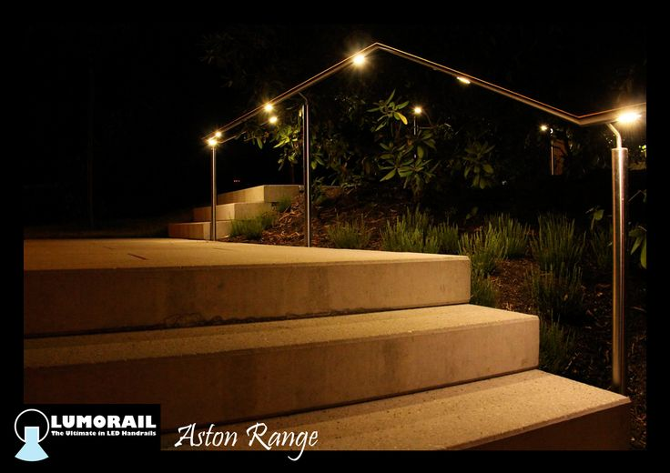 Our illuminated LED handrail 'The Aston' A Stainless Steel handrail with a modular light fitting containing 6 LEDS, specifically designed for handrail applications, IP65 rated for outdooe use. This is available in a range of handrail profiles and sizes. www.lumorail.com.au for more. info#LEDHandrail