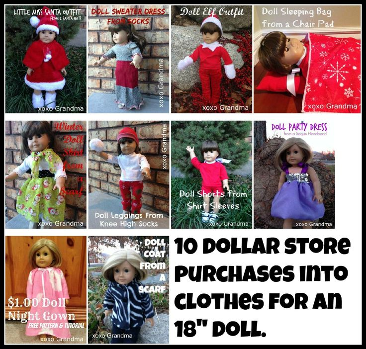 10 things to make from dollar store items for an American Girl doll.  Free patterns and tutorials.