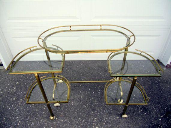 SALE Vintage Brass Bar Cart, Hollywood Regency Expandable 5 tier bar cart - Sale 20%