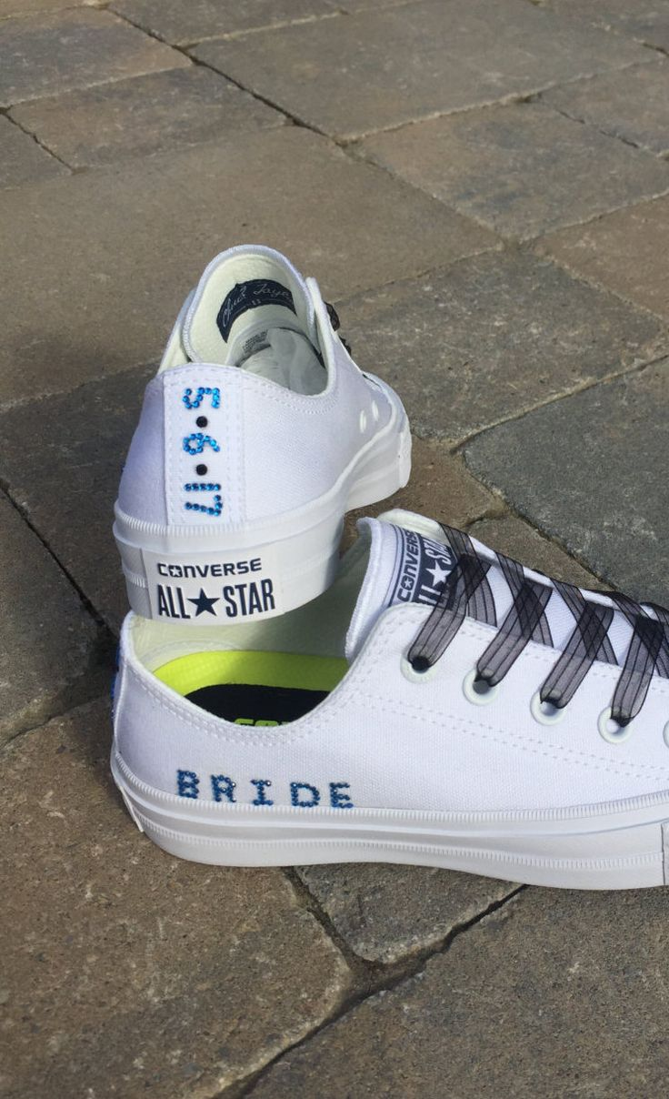 Custom Add Ons.  Blinged Converse.  Add Rhinestone Date, Bride, Mrs. etc. to Customized Converse Shoes.  Wedding Converse. Bride Converse by TrickedKicks on Etsy