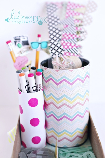 Cute organizer made from recycled items + fun papers