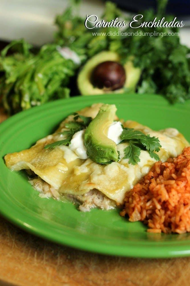 Carnitas Enchiladas. I like the idea of that cool green enchilada sauce from HT with the creaminess of sour cream. But maybe add some Mexican crema to the cheese. And I love that this uses CORN tortillas!!
