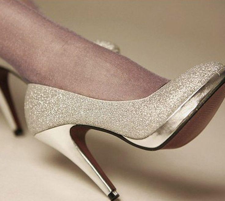 Туфли на высоком каблуке новый блеск серебра 10 см свадебные туфли на каблуках свадьба невесты обувь ну вечеринку обуви вечернее платье размер 34 - 43