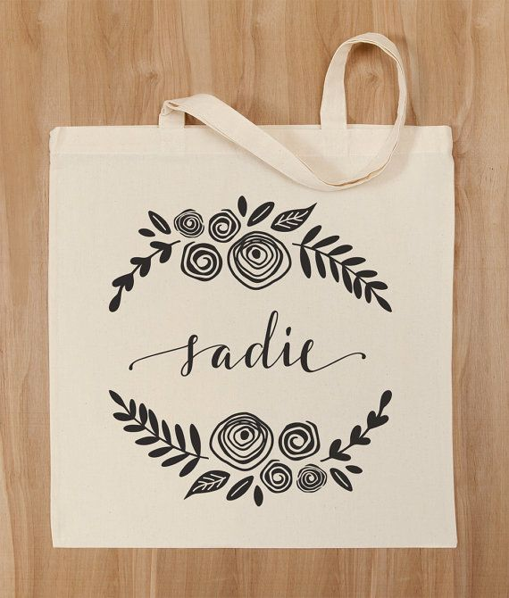Personalized Calligraphy Floral Canvas Tote by PaperAndQuillDesign