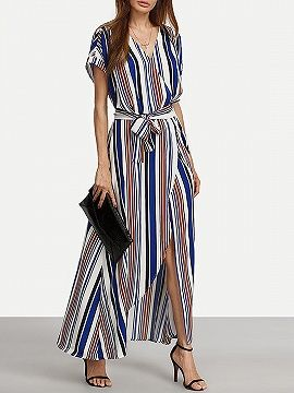 5afc029b3be Blue Stripe V-neck Tie Waist Thigh Split Front Maxi Dress - Choies ...
