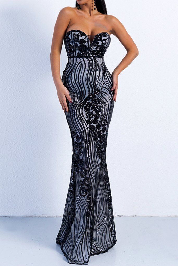 Honey Couture TULA Black   Silver Sequin Strapless Formal Gown Dress ... b4c461673