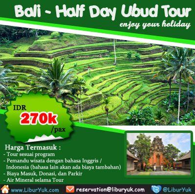 Tak lengkap rasanya jika liburan ke #Bali tanpa mengunjugi daerah seni Ubud. Kini tersedia paket half Day #Ubud #Tour dengan harga funtastik lho. Yuk buruan booking sekarang juga sebelum kehabisan!  Dapatkan Spesial Paket tersebut dari #LiburYuk http://liburyuk.com/bookitem/142/2014-06-04/HALF-DAY-UBUD-TOUR- #jalan2 #holiday #AbbeyTravel