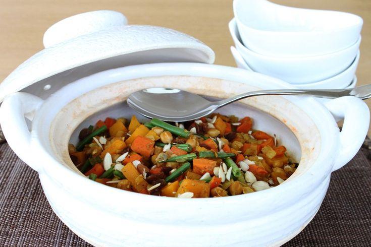 Mijoté marocain aux pois chiches, courges et raisins secs