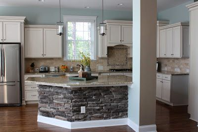 beautiful kitchen remodel copen blue walls stone on