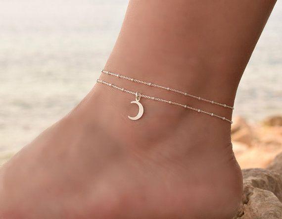 Crescent Moon Anklet Sterling Silver, Anklets for Women, Anklet, Delicate Silver Anklet Bracelet, Dainty Chain Anklet Set, Boho Charm Anklet