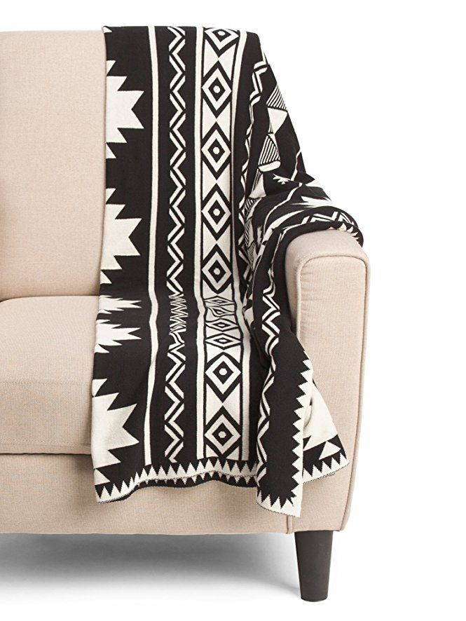 d23a2f9acc4 Aztec Print Cotton Knit Throw Blanket Southwestern Tribal Modern Geometric  Pattern Luxe Sweater Soft Black and White Grey Minimal Nordic Graphic  Shapes ...