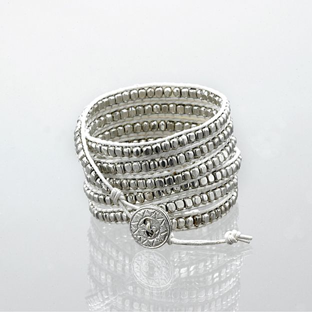 White leather  silver bead wrap bracelet