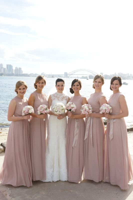 BG396- Soft tones of pinks and creams to compliment the dusty pink bridesmaids dress's