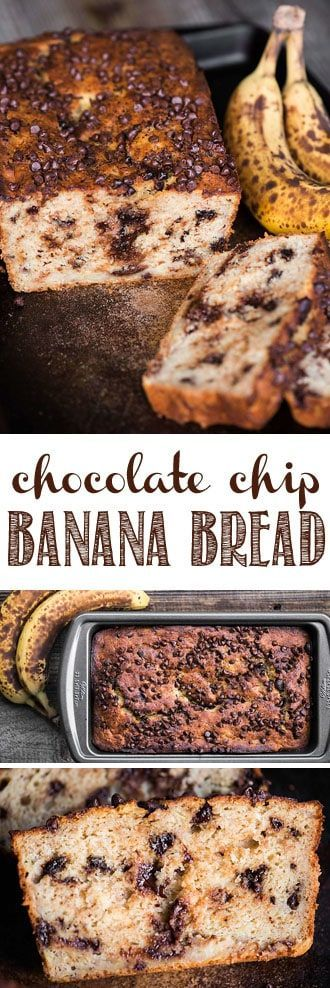 Chocolate Chip Banana Bread is a family favorite recipe and super moist banana bread that combines the flavors of chocolate and ripe banana. #bananabread #chocolatechip #chocolate #chocolatechipbananabread