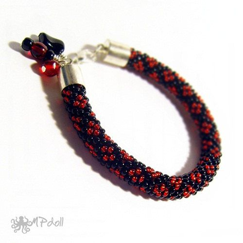 Red Desire  Bead Crochet Bracelet Crochet Rope Beaded