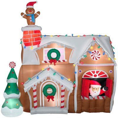 inflatable christmas decorations for outside | Gemmy Inflatable Animated Airblown-Gingerbread House Outdoor Christmas ...
