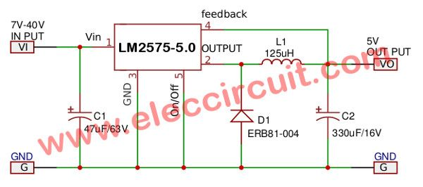 Lm2575 Circuit Simple Switcher 1a Step Down Voltage Regulator Voltage Regulator Circuit Switched Mode Power Supply