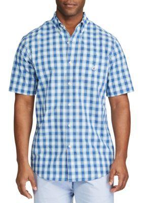 Chaps Men's Big & Tall Short Sleeve Plaid Shirt - Swiss Blue - 2Xlt