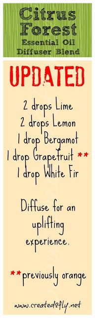 www.created2fly.net - Diffusing - More than a Good Smell? & Citrus Forest Diffuser Blend Updated