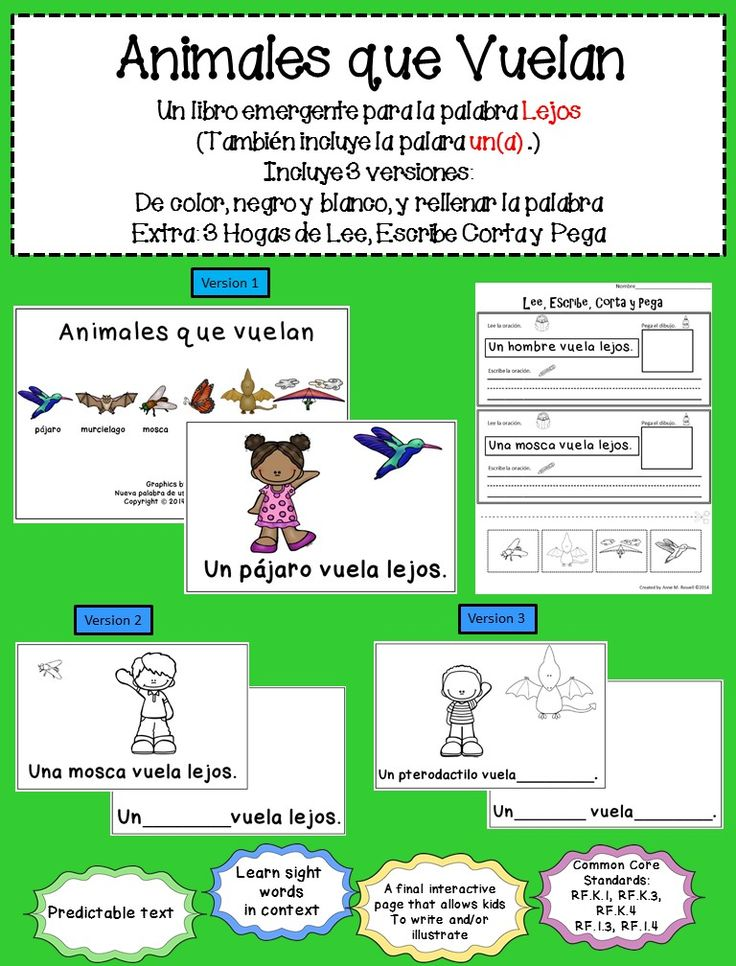 Animales que vuelan - a Spanish reader for the word lejos. Includes 3 versions: black and white, color, and missing sight word. Also includes 3 cut & paste worksheets for follow up.