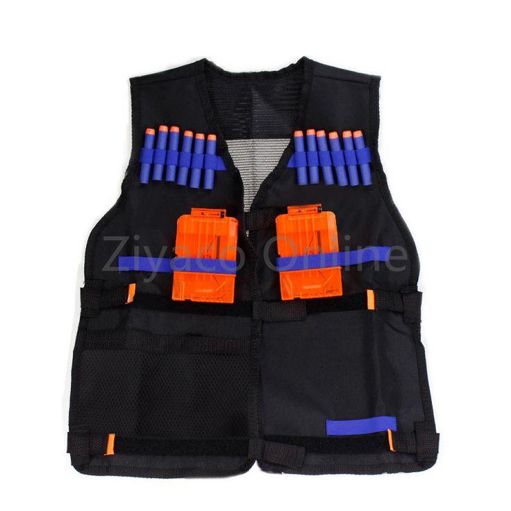 Black Nerf Tactical Vest Jacket Waistcoat Pistol Bullets Toy Guns Ammo Holder N-Strike Elite Clip Darts for Children Travel kits