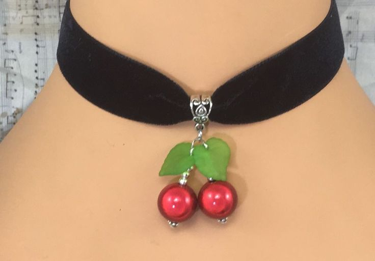 Goth Black Velvet Choker Necklace Red Cherry Cherries Rockabilly Tattoo Punk Emo  | eBay