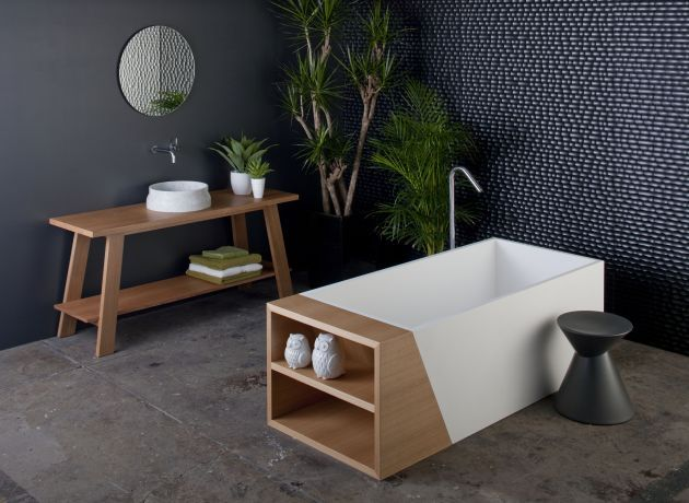 Love the storage space + green....Omvivo Australian bathroom manufacturer