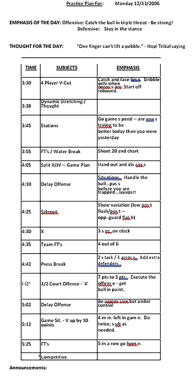 Sample Basketball Schedule Template di 2020