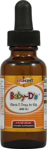Vitacost Baby-D's® Liquid Vitamin D Drops for Kids -- 400 IU - 1 fl oz - Vitacost. BEST VALUE- 900 servings @ $6.99