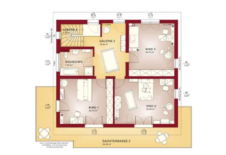 Grundriss Maisonette Wohnung Obergeschoss - Haus Celebration 275 - grundriss küche mit kochinsel